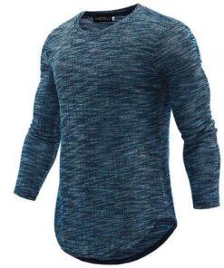 Basic Long Sleeve Curved Hemline Sweatshirt
