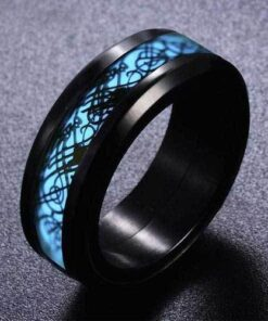 Blue Celtic Dragon Glow Ring