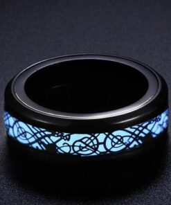 Blue Celtic Dragon Glow Ring