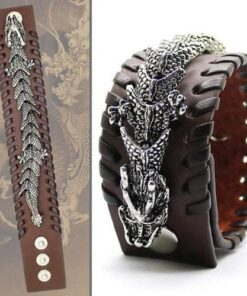 Braided Cuff Leather Dragon Bracelet