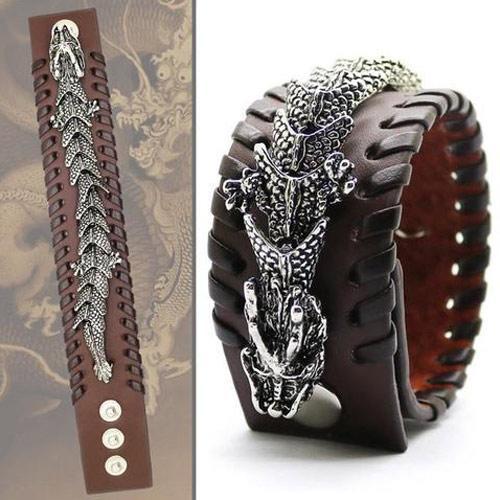 Braided Cuff Leather Dragon Bracelet
