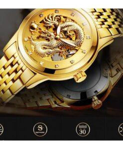 Luxury Dragon Genuine Leather Strap Wristwatch