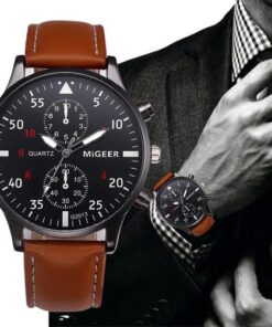 MiGEER Mens Leather Masculino 2018 Quartz Watch