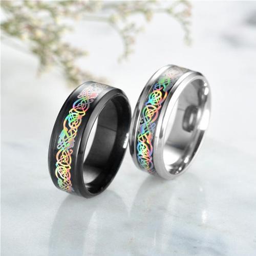 Rainbow Celtic Dragon Rings