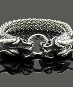 Stainless Steel Double Dragon Bracelet