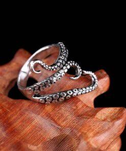 Titanium Steel Gothic Deep Sea Octopus Ring